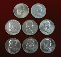 LOT OF 8 DIFFERENT NICE CIRCULATED 90  SILVER FRANKLIN HALF DOLLARS 1948D  1959P
