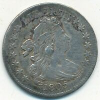 1805 DRAPED BUST SILVER DIME- DIME PLUGGED-STRONG DETAILS SHIPS FREE