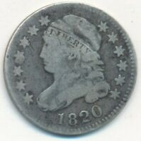 1820 CAPPED BUST SILVER DIME-LARGE 0- CIRCULATED DIME-SHIPS FREE INV:4