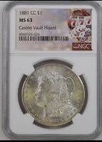 1881-CC MORGAN SILVER DOLLAR NGC MINT STATE 63 VEGAS HOARD  GAMBLED WITH COIN