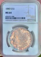 1880 S MORGAN DOLLAR MONSTER TONER MINT STATE 64 NGC  GRAND EYE APPEAL AMAZING COLORS