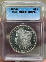 1880-S MORGAN DOLLAR MINT STATE 64DMPL   AMAZING FROSTY WITH DEEP MIRRORS  DMPL
