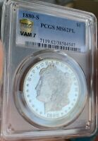 INCREDIBLE 1880 S PCGS MINT STATE 62 PL POSSIBLE VAM7 MORGAN SILVER DOLLAR -