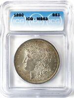 1890 MORGAN DOLLAR SILVER S$1 CHOICE UNCIRCULATED ICG MINT STATE 63