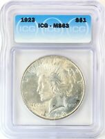1923 PEACE DOLLAR SILVER S$1 CHOICE UNCIRCULATED ICG MINT STATE 63