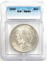 1923 PEACE DOLLAR SILVER S$1 CHOICE UNCIRCULATED ICG MINT STATE 64