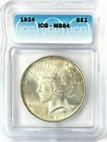 1924 PEACE DOLLAR SILVER S$1 CHOICE UNCIRCULATED ICG MINT STATE 64