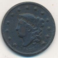 1835 CORONET HEAD LARGE CENT-SMALL 8, STARS- CIRCULATED-SHIPS FREE INV:3