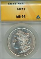 1894-P MORGAN SILVER DOLLAR CERTIFIED ANACS MINT STATE 61 BU LOOKS MUCH R UPGRADE ?