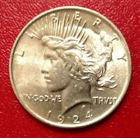 1924 P $1 PEACE DOLLAR 90  SILVER CIRCULATED WITH LUSTER BETTER CONDITION