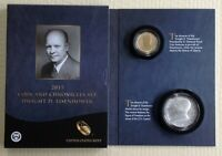 2015 EISENHOWER COIN CHRONICLES SET REVERSE PROOF $1 SILVER MEDAL STAMP AX2 OGP