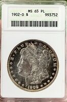 1902-O MORGAN DOLLAR MINT STATE 65PL  IN PROOFLIKE AMAZING EYE APPEAL  OLD ANACS