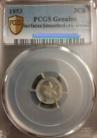 1853 3 CENT SILVER AU ONE OF THE NICEST 3CS YOU WILL EVER SE