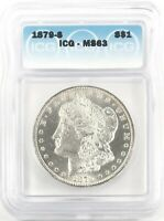 1879-S MORGAN DOLLAR SILVER S$1 CHOICE UNCIRCULATED ICG MINT STATE 63