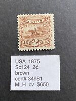 US 1875 SCOTT 124 2C MH STAMP WITH CERTIFICATE  WHEN PART OF
