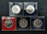 5 COIN SET OF BU COMMEMORATIVE CROWN COINS 1965 - 1981 ROYAL MINT. POLISHED