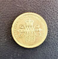 2 TWO POUND COIN TERCENTENARY OF THE BILL OF RIGHTS 1689 1989
