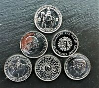 6 COIN SET OF BU COMMEMORATIVE CROWN COINS 1953 - 1981 ROYAL MINT. POLISHED
