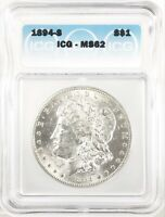 1894-S MORGAN DOLLAR SILVER S$1 UNCIRCULATED ICG MINT STATE 62