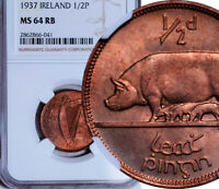 NGC MINT STATE 64 RED-BN IRELAND HALFPENNY 1/2 PENNY 1937 RECOMMENDED TO NCS POP: 1/4