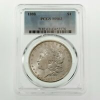 1888 $1 SILVER MORGAN DOLLAR GRADED BY PCGS AS MINT STATE 63 GORGEOUS COIN