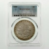1888 $1 SILVER MORGAN DOLLAR GRADED BY PCGS AS MINT STATE 62 GORGEOUS COIN