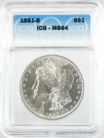 1881-S MORGAN DOLLAR SILVER S$1 CHOICE UNCIRCULATED ICG MINT STATE 64