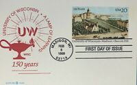 POSTAL CARD FIRST DAY ISSUE UNIVERSITY OF WISCONSIN 20 CENT