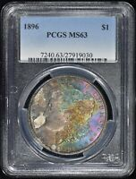 1896 MORGAN $1 PCGS MINT STATE 63 - VIBRANT RAINBOW VIOLET AND TURQUOISE -  COLOR