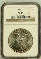 1896 MORGAN SILVER DOLLAR COIN NGC MINT STATE 64 MINT STATE 64