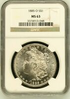 1885 O MORGAN SILVER DOLLAR COIN NGC MINT STATE 63 MINT STATE 63
