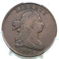 1802/0 C-2 R-3 PCGS VF 25 REVERSE OF 1802 DRAPED BUST HALF CENT COIN 1/2C