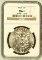 1896 MORGAN SILVER DOLLAR COIN NGC MINT STATE 63 MINT STATE 63