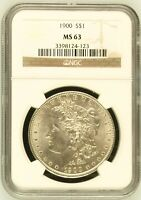 1900 MORGAN SILVER DOLLAR COIN NGC MINT STATE 63 MINT STATE 63