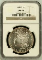 1880 S MORGAN SILVER DOLLAR COIN NGC MINT STATE 64 MINT STATE 64