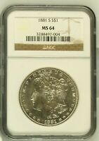 1881 S MORGAN SILVER DOLLAR COIN NGC MINT STATE 64 MINT STATE 64