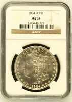1904 O MORGAN SILVER DOLLAR COIN NGC MINT STATE 63 MINT STATE 63