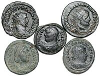5 LATE ROMAN BRONZE COINS 5 DIFFERENT RULERS
