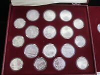 1980 MOSCOW SOVIET OLYMPICS CCCP SILVER 28 COINS PROOF SET WITH BOX AND COA