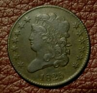 1825 CLASSIC HEAD HALF CENT, EXTRA FINE       ONLY 63,000 MINTED