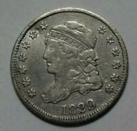 1829 CAPPED BUST HALF DIME, VF DETAILS    SHARP EXAMPLE    READ TEXT BELOW