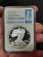 SHIP NEXT DAY, 2021 S $1 PROOF SILVER EAGLE TYPE 2 NGC PF70 FIRST DAY T-2 FDOI