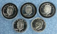 5 PROOF EISENHOWER 40 SILVER S-MINT DOLLARS, SILVER $1S, 1971, 1972, 1973, 1976