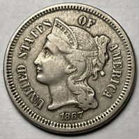 1867 THREE CENT NICKEL PIECE CHOICE EXTRA FINE  SHIPS FREE MAKE AN OFFER