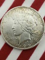 1922 PEACE DOLLAR SILVER COIN LIBERTY $1 ONE EAGLE ROUND US 90  NO SCRAP