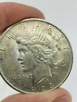 1923 PEACE DOLLAR SILVER COIN LIBERTY $1 ONE EAGLE ROUND US 90  NO SCRAP