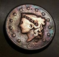 1837  US CORONET HEAD LARGE CENT COIN.
