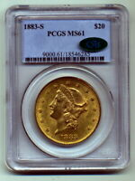 1883-S PCGS MINT STATE 61 CAC $20 GOLD LIBERTY DOUBLE EAGLE