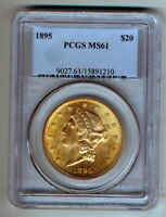 1895 PCGS MINT STATE 61 $20 GOLD LIBERTY DOUBLE EAGLE