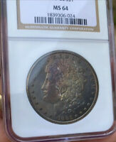 1885-CC MORGAN DOLLAR MONSTER TONERTONED NGC MINT STATE 64  ONE OF A KIND PIECE